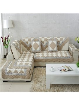Unique Design Beige and White Plaid Print Cushion Slip Resistant Sofa Covers