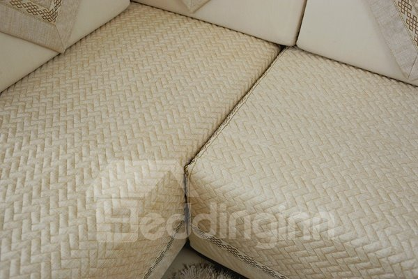 Beige Top Grade Slip Resistant Quilting Seam Washable Decorative Sofa Covers