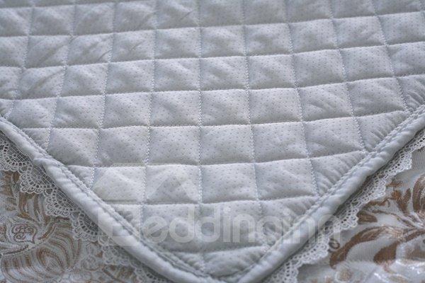 Elegant Quilting Seam Brocade Design with Lace Edge Cushion Slip Resistant Sofa Covers