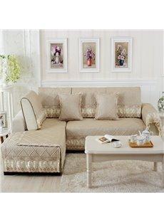 Beige Polyester Fiber European Style Lace Edge Four Seasons Sofa Covers