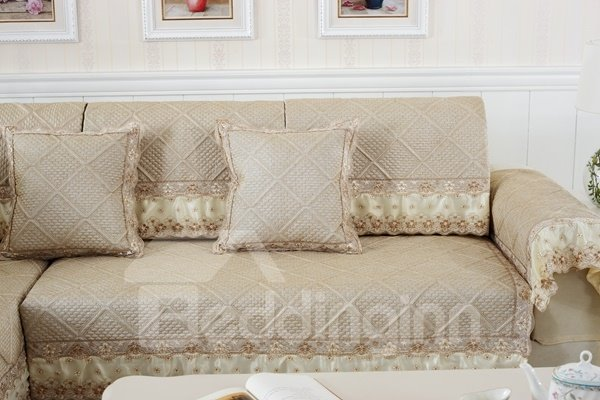 Beige Polyester Fiber European Style Lace Edge Four Seasons Sofa Covers