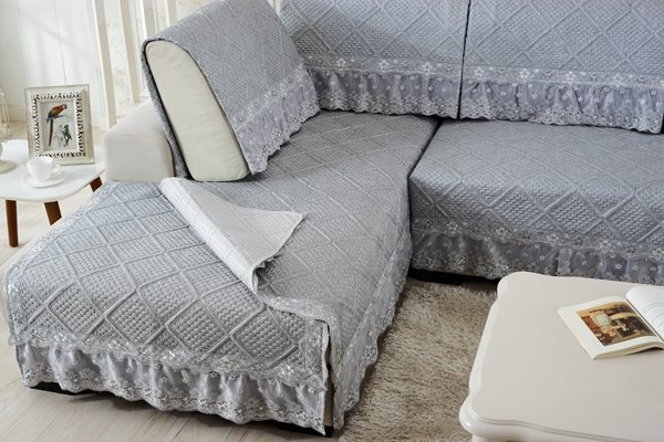 Grey Polyester Fiber European Style Lace Edge Four Seasons Slip Resistant Sofa Covers
