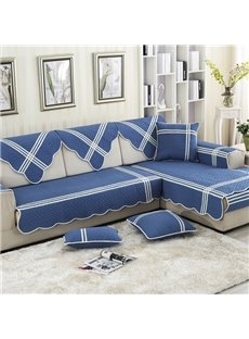 Blue Mediterranean Style Cotton Four Seasons Quilting Seam Slip Resistant Cushion Sofa Covers