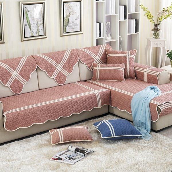 Blue Mediterranean Style Cotton Four Seasons Quilting Seam Slip Resistant Cushion Sofa Covers