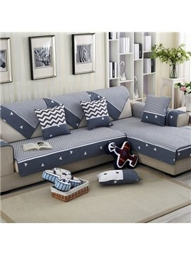 Blue and Grey Strips Four Seasons Cushion Slip Resistant Home Decorative Sofa Covers