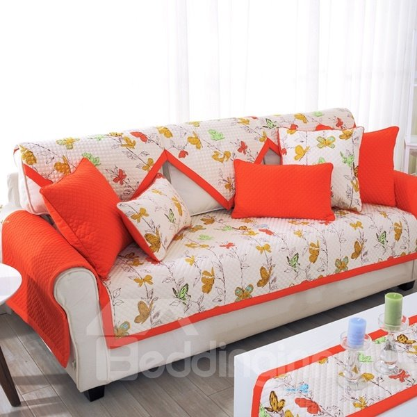 Bright-colored Cotton Three Colors Floral Print Quilting Seam Sofa Covers
