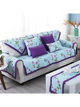 Purple Country Style Floral Print Four Seasons Slip-resistant Cotton Cushion Sofa Covers