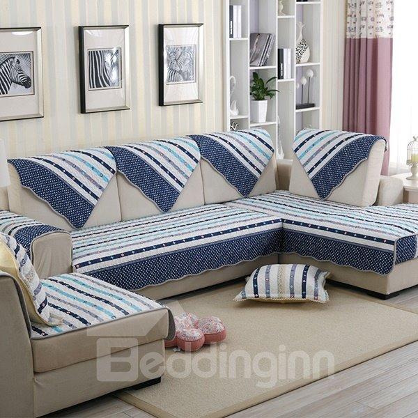 Mediterranean Style Cotton Blue Strips Cushion Slip Resistant Sofa Covers