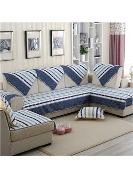 Mediterranean Style Cotton Blue Strips Cushion Slip Resistant Sofa Covers