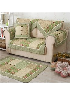 Winter Cotton Handmade Three-dimensional Embroidery Country Style Green Cushion Sofa Covers