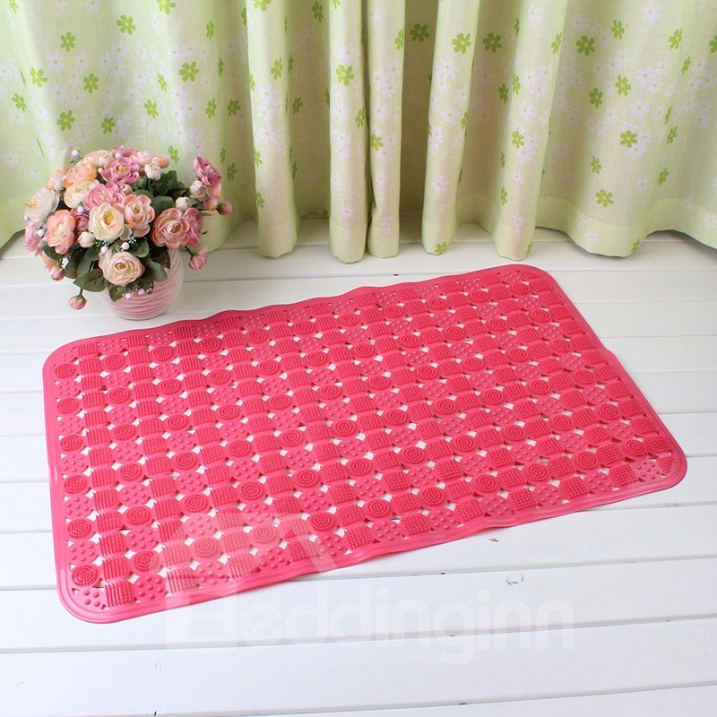 Red Non-Slip Anti-Bacterial Translucent Massage PVC Bath and Shower Mat  beddinginn