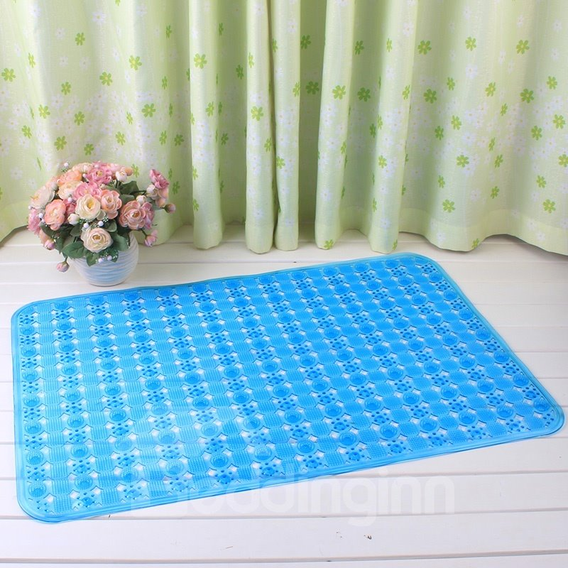 Blue Non-Slip Anti-Bacterial Translucent Massage PVC Bath and Shower Mat