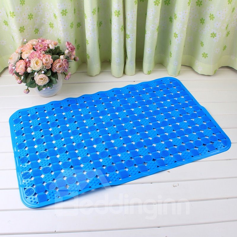 Blue Non-Slip Anti-Bacterial Massage PVC Bath and Shower Mat  beddinginn