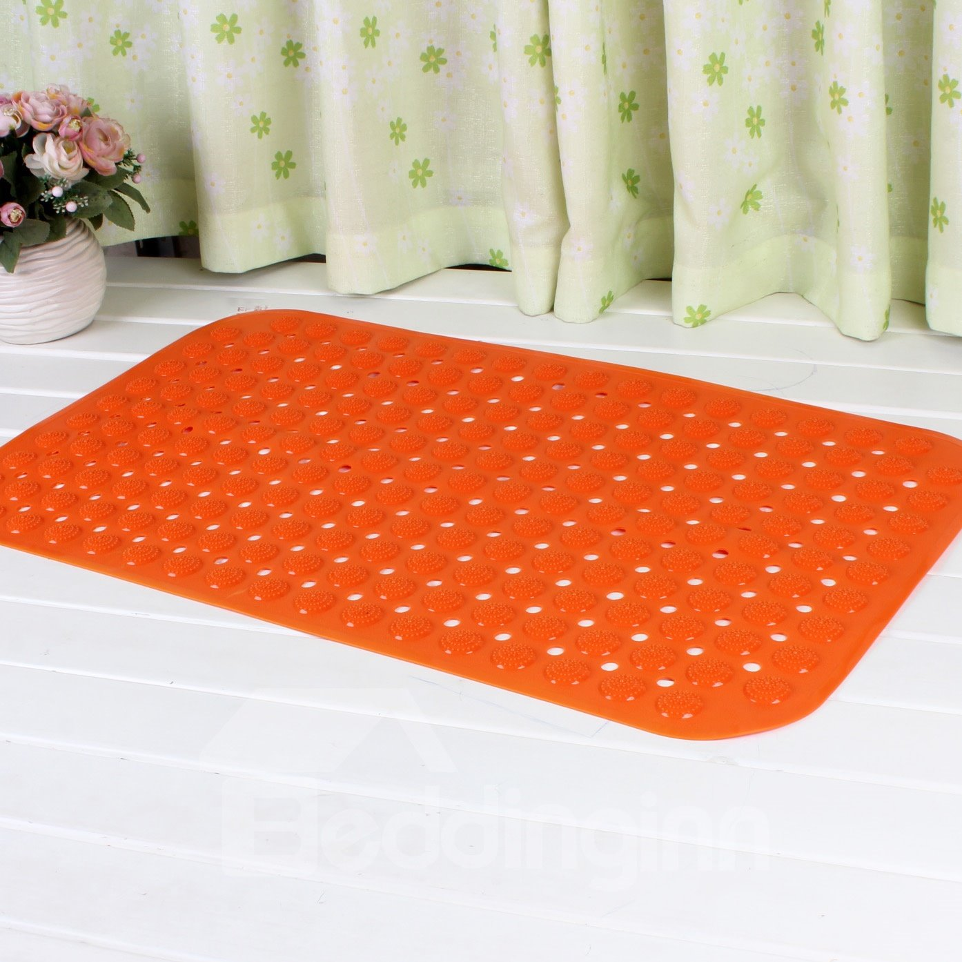 Orange Non Slip Bath And Shower Mat Featuring Powerful