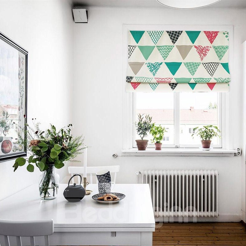 Sweet Colorful Geometric Printing Linen Roman Shades