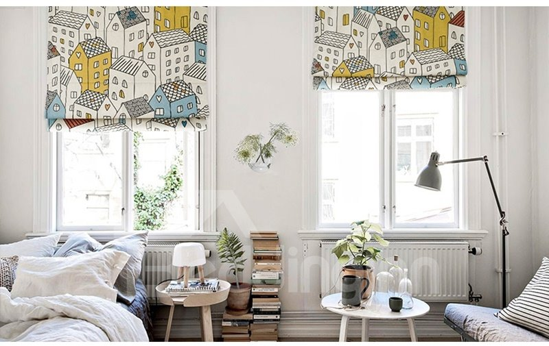 Stick Figures Europe Village Printing Linen Roman Shades