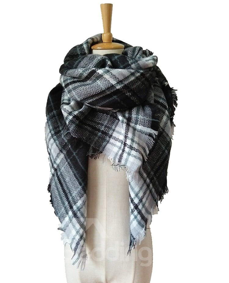 Womens Cozy Plaid Blanket Scarf Warm Cashmere Tartan Wrap Shawl Square Scarves