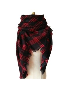 Dimore Large Tartan Checked Plaid Scarf Shawl For Womens Beautiful Cashmere Square Scarves