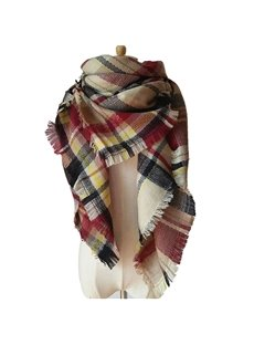 Lady Women's Lattice-Like Contrast Color Design Sheer Shawl Wrap Warm Cashmere