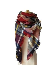 Charming Checkered Autumn Winter Women's Warm Cashmere Square Scarves