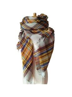 Attractive Rainbow Lattice Design Women's Fashion Warm Cashmere Square Scarves