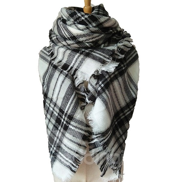 Autumn Winter White And Black Classic Mixing Warm Lattice Style Square Scarves