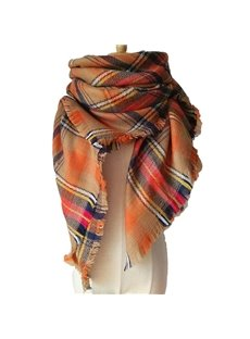 Women's Cozy Tartan Blanket Scarf Wrap Shawl Neck Stole Warm Plaid Checked Square Scarves