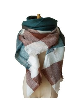 Hot Popular Fashion Contrast Color Checkered Design Women Square Scarve