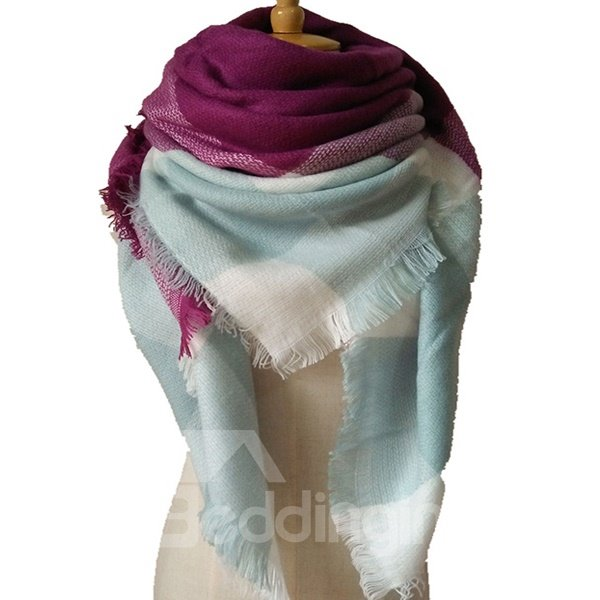 Hot Women Lady Winter Autumn Warm Soft Contrast Color Design Square Scarve
