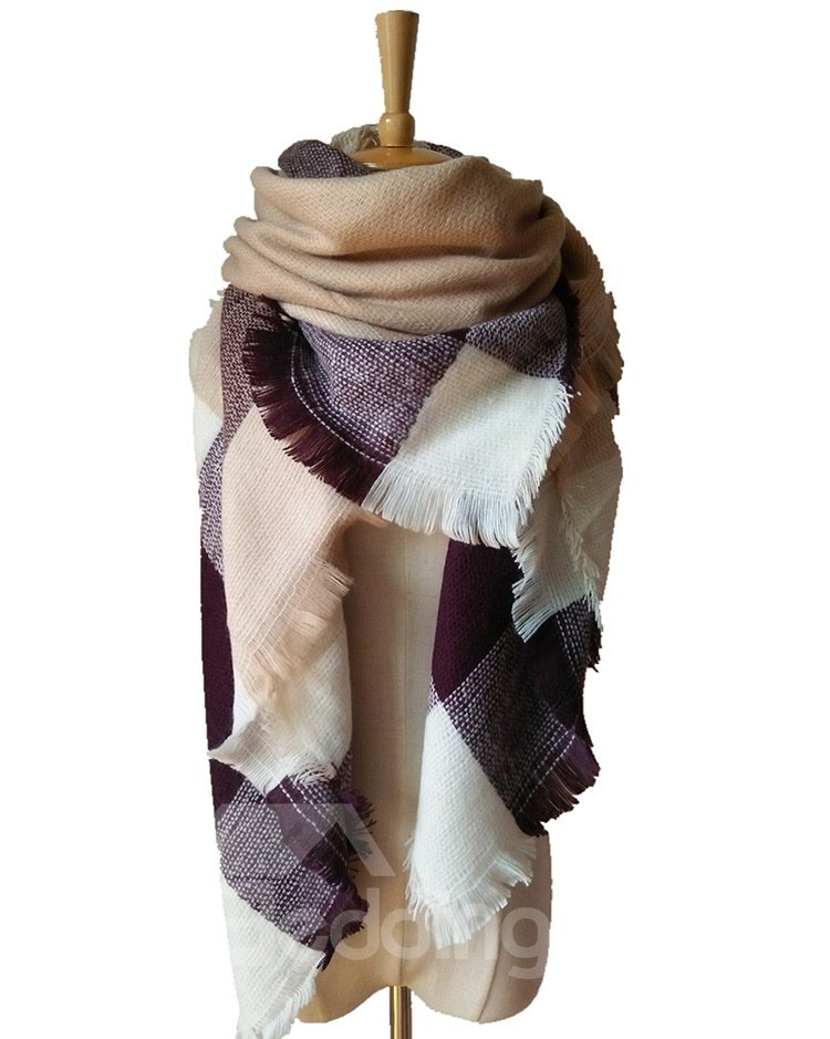 Fashion Popularity Contrast Color Design Cashmere Warm Square Scarves