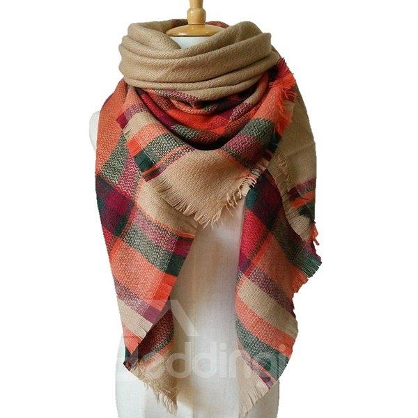 Classic Khaki Color Popular Warm Cashmere Square Scarves