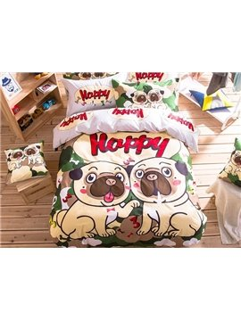 Two Puppies Pattern Kids Cotton 4-Piece Duvet Cover Sets