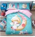 Angel sit on Moon Pattern Kids Cotton 4-Piece Duvet Cover Sets