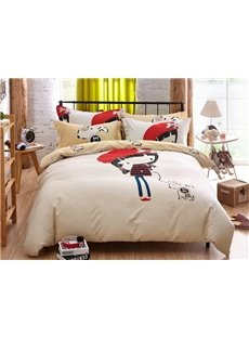 Lovely Girl with Her Dog Pattern Kids Cotton 4-Piece Duvet Cover Sets