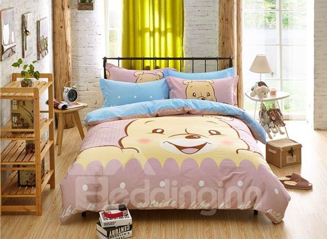 Lucky Bear Pattern Kids Cotton 4-Piece Duvet Cover Sets