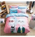 Cool Girls Pattern Kids Cotton 4-Piece Duvet Cover Sets