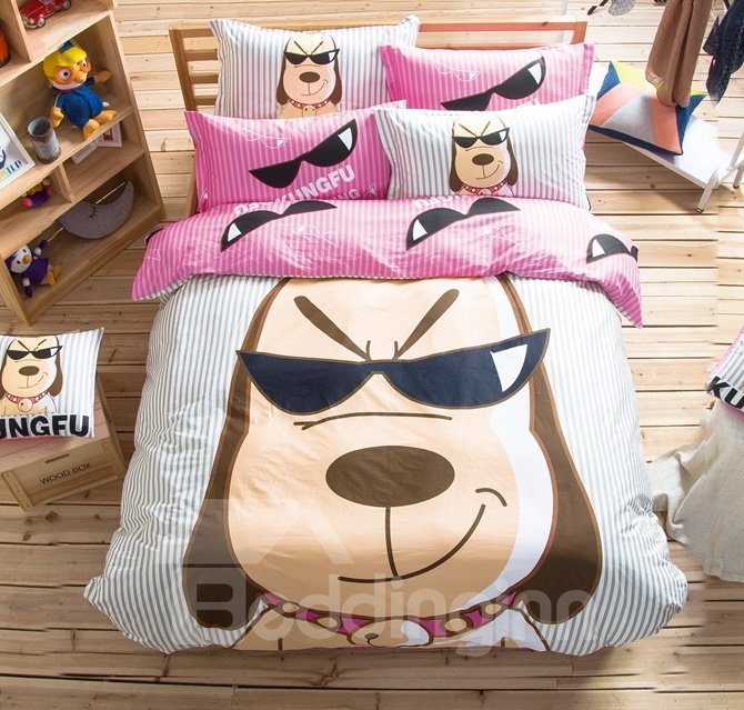 Cool Dog Pattern Kids Cotton 4-Piece Duvet Cover Sets