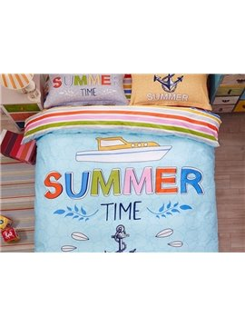 Sailing Pattern Kids Cotton 4-Piece Duvet Cover Sets