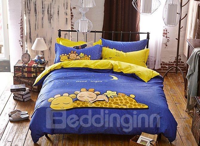 Sleeping Giraffe Pattern Kids Cotton 4-Piece Duvet Cover Sets