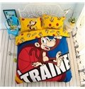 Monkey with Basketball Pattern Kids Cotton 4-Piece Duvet Cover Sets