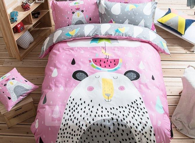 Summer Day Pattern Kids Cotton 4-Piece Duvet Cover Sets
