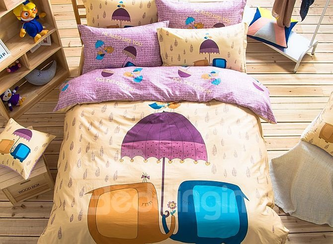 Abstract Elephant Couple Pattern Kids Cotton 4-Piece Duvet Cover Sets