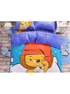 Lion Baby Pattern Kids Cotton 4-Piece Duvet Cover Sets