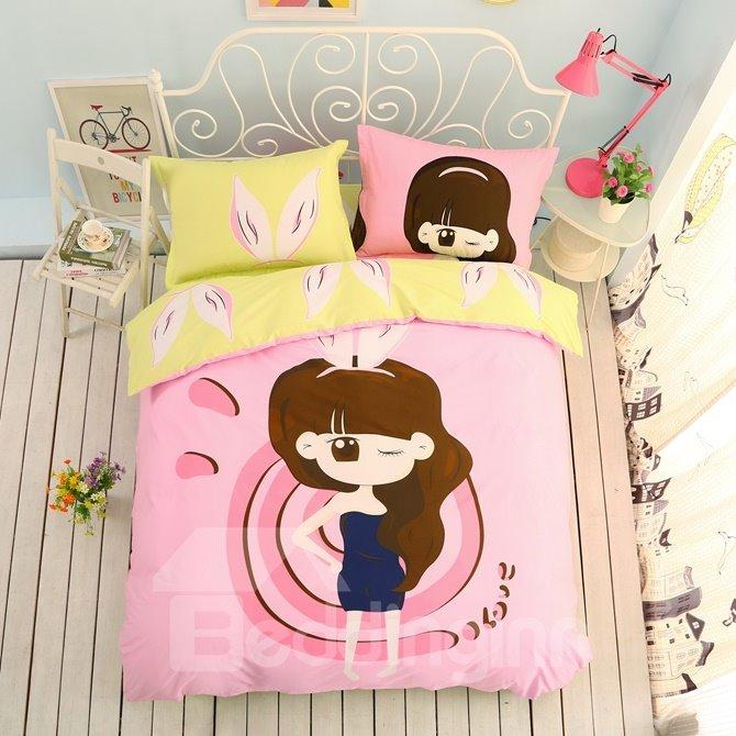 Fashion Girl Pattern Kids Cotton 4-Piece Duvet Cover Sets