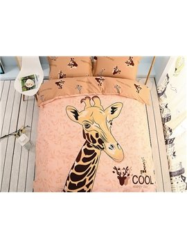 Cool Giraffe Pattern Kids Cotton 4-Piece Duvet Cover Sets