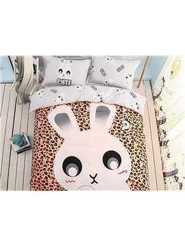 Cartoon Rabbit Pattern Leopard Kids Cotton 4-Piece Duvet Cover Sets