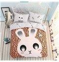 Cartoon Rabbit Pattern Leopard Kids Cotton 4-Piece Duvet Cover Sets