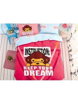 Inspirational Letters Pattern Kids Cotton 4-Piece Duvet Cover Sets