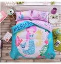 Cartoon Mermaid Pattern Kids Cotton 4-Piece Duvet Cover Sets