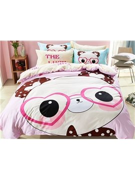 Lovely Panda with Glasses Pattern Kids Cotton 4-Piece Duvet Cover Sets